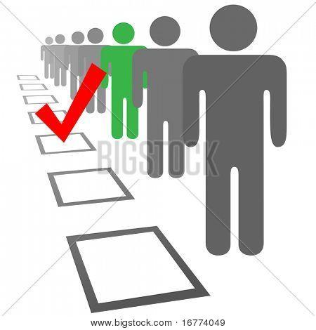 Wählen Sie eine Person aus einer Reihe von Menschen in Auswahl Wahl Abstimmung Kartons