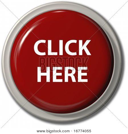 Um grande brilhante clique aqui botão ícone vermelho para o site de internet com sombra