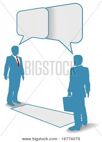 Two business people talk connect communicate in speech bubbles at a distance