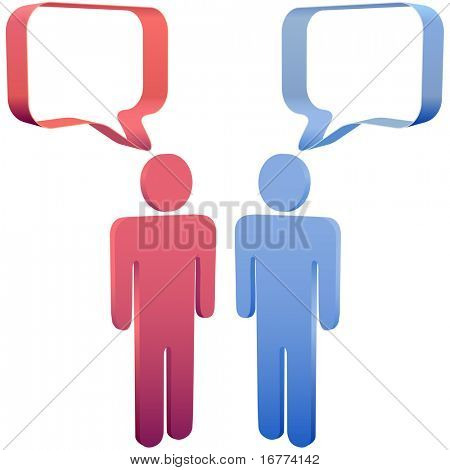 Red and blue people meet and talk in 3D social media speech bubbles