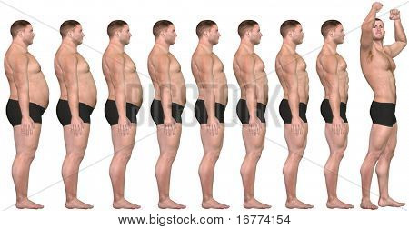 A man diets and exercises from fat to fitness in before and after series of 3D renders