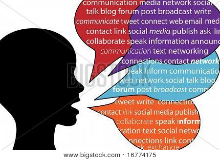 A person talks social communication words in text speech bubbles