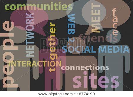 Un resumen antecedentes de stick figure personas y medios de comunicación social red palabras burbujas