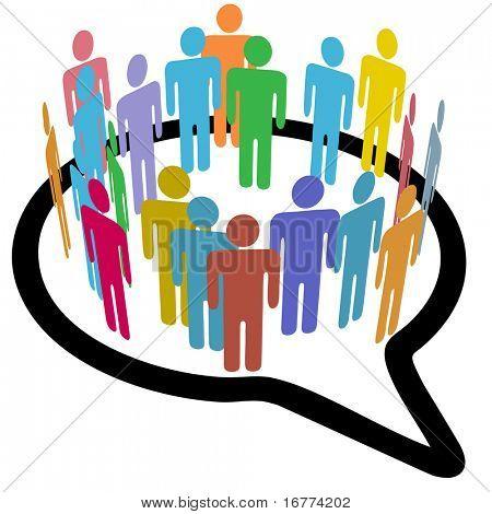 Ein innerer Kreis der bunten unterschiedliche Menschen Verknüpfung treffen in Sprechblase social-media