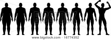 A man diets and exercises from fat to fitness in before and after series frontal view