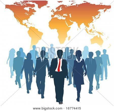 Global human resources business people work team walk forward from world map