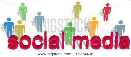 Stick figure people in various colors symbols stand behind social media words as red 3D letters