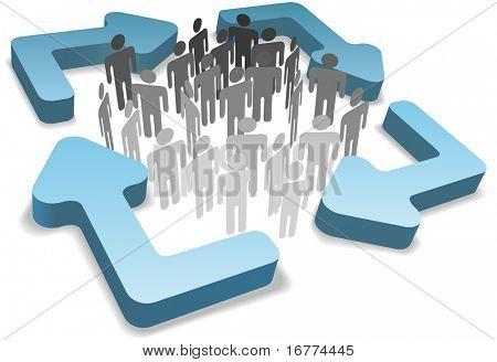 Stick figura símbolo personas dentro cuatro redondeados 3D sistema de gestión de procesos o reciclan las flechas