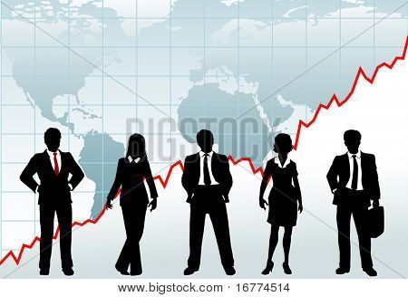 Row of five business investment counselors stand in front of global growth chart world map