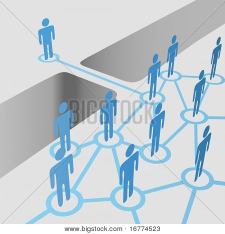 People bridge a gap to connect and join network nodes in a merger team