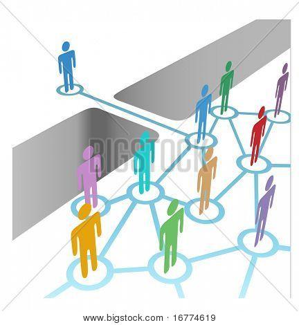 Diversas personas brecha para conectar y formar parte de equipo de red o fusión de medios sociales