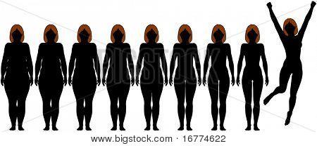 Siluetas frontales mujer de antes y después de grasa para caber el éxito de pérdida de peso dieta