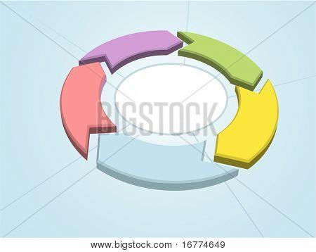 Ciclo de flujo 5 flechas de gestión de proceso de color círculo sectores de trabajo