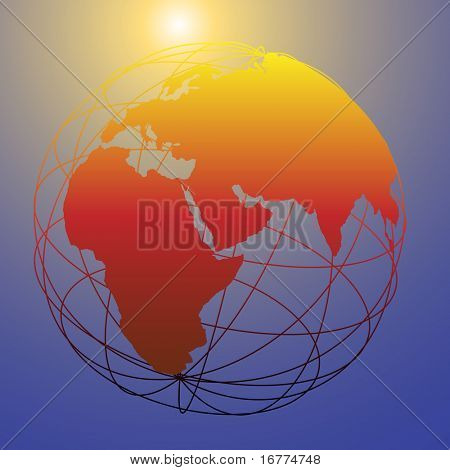 Earth wireframe globe on a shining sun background as a symbol of new tomorrow and bright future