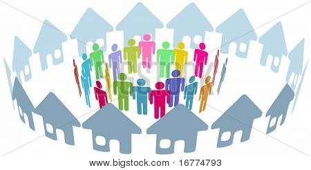 Neighborhood home people social network meet inside a circle of houses