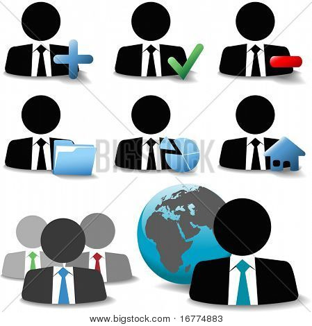 Game piece style business man people website icon symbol set