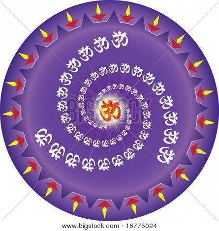 OM el primer sonido del universo según la religión hindú.  El distintivo santo hindú.