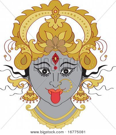 Kali Maa (Kalika) Indian Goddess ornamental face.