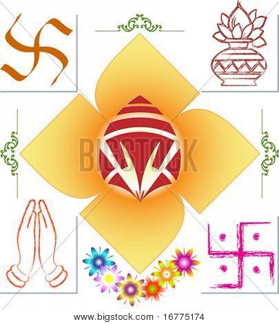 Ganesh, Swastic, Namaskar, Flower and mix icons