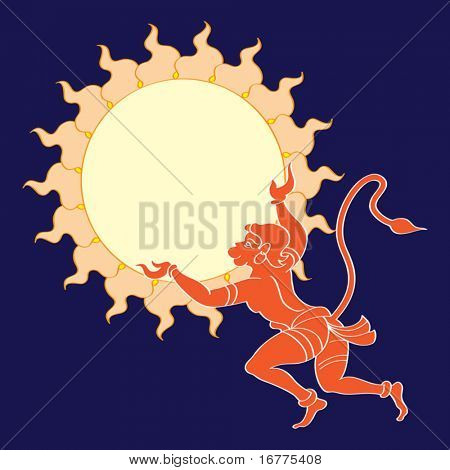 Hanuman the hindu ape god flying to catch the sun. He is one of the most important personalities in the Indian epic, the Ramayana. Hanuman the symbol of ultimate, power, strength,