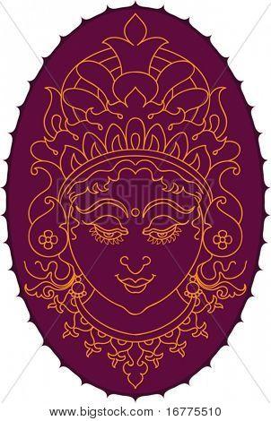 Durga Indian Goddess ornamental face
