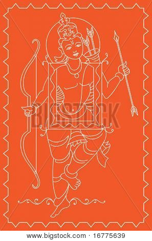 Rama Folk tribal design motif, main character of India epic Ramayana