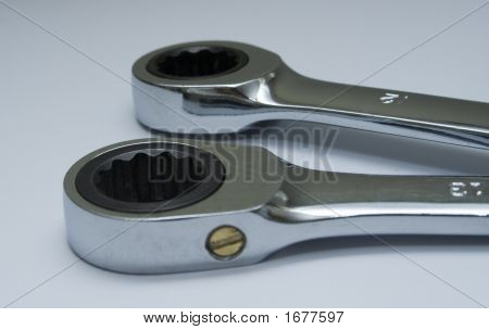 Two Ratchet Ring Ended Wrench'S Or Spanners