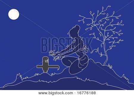 Lady doing Hartalika Teej, shivling pooja