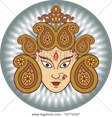 Durga Indian Goddess ornamental design
