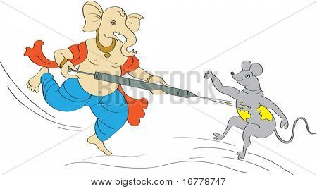 Ganesha Playing Holi with Mouse