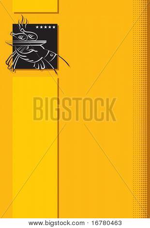Plantilla de diseño de la tarjeta de menú, porción de pollo asado (palillo)