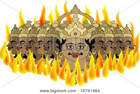 ravana burning in fire