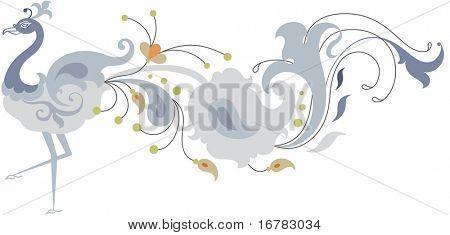 Peacock artístico diseño Ornamental dibujado a mano