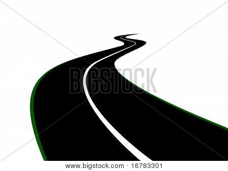 Road with a dividing strip