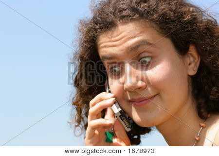 Amazed Girl With Cell Phone