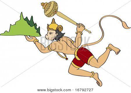 Lord Hanuman Carrying Sanjeevani Mountain and flying