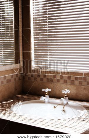 Modern Bathroom With Blinds On The Window