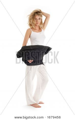 Happy Blond With Black Pillow