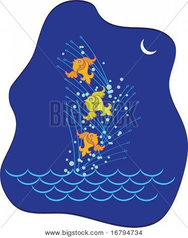 Fish playing, Jumping above the wave in beautiful moon light,