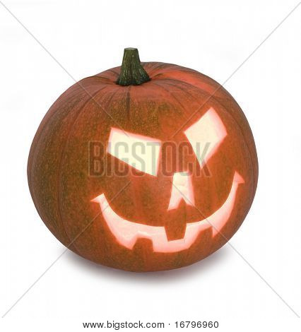 Pumpkin with halloween phrases on white background