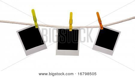 three photos on a rope, clipping path