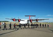 foto of army cadets  - young army cadets board their hercules plane - JPG