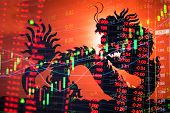 China Stock Market Graph Ticker poster