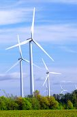 image of wind-turbine  - Wind power generators in the field against blue sky - JPG