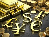 Finance, Stock exchange concept - Gold bars, coins and gold currency signs. 3d illustration poster