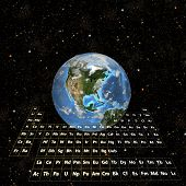 It's all about atoms. Render of real Periodic Table of the Elements and Earth in Space. Room for your copy, logo, image, or crop at the top. poster