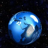 foto of eastern hemisphere  - Illustration of a fragile Blue Glass Earth Globe shining on a starfield in space - JPG