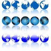 foto of eastern hemisphere  - Collection of Blue Earth Globes with Shiny Reflections - JPG