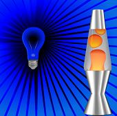 A psychedelic blacklight background with red orange lava lamp, 60's 70's on blue rays. poster