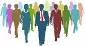 stock photo of human resource management  - Diverse business people human resources silhouettes follow a team leader - JPG